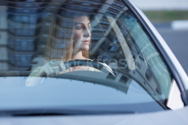 young adult blonde woman driving a car Stock photo © chesterf