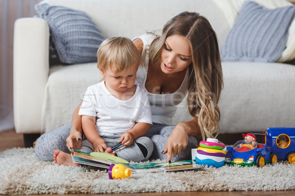 cute mother and child boy play together indoors at home Stock photo © chesterf