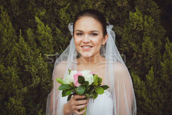 bride portrait over green trees outdoor Stock photo © chesterf