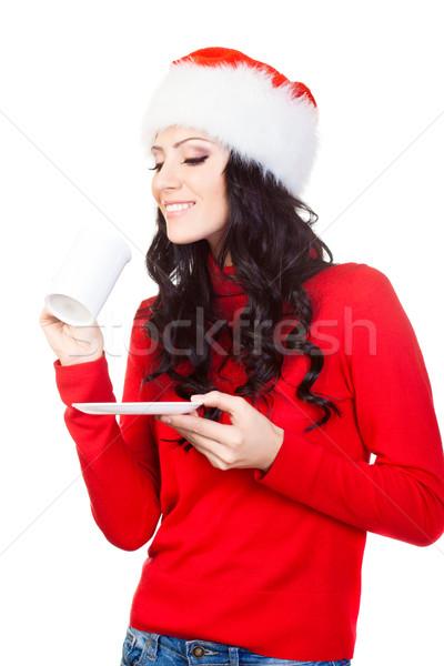 Boldog nő tart kávésbögre tányér fehér Stock fotó © chesterf
