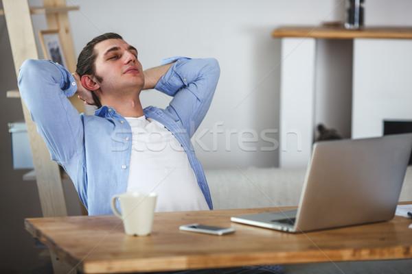 Ritratto lavoro uomo home laptop Foto d'archivio © chesterf