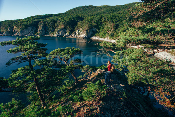Male traveler from back on the sea coast Stock photo © chesterf