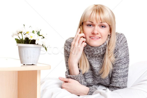 blondie woman calling by phone Stock photo © chesterf