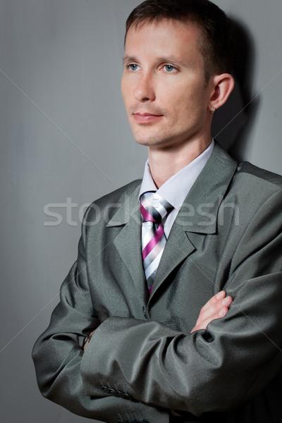 Homme portrait mur gris affaires visage Photo stock © chesterf