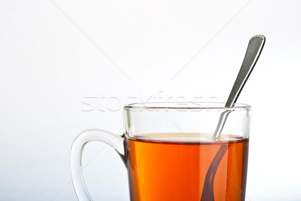 çay fincanı kaşık beyaz su turuncu içmek Stok fotoğraf © chesterf