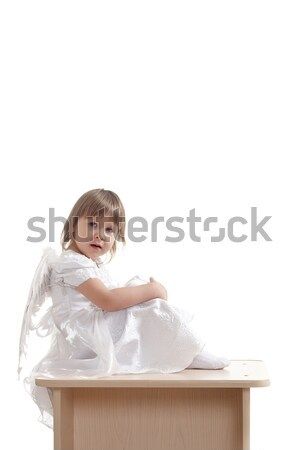angel girl sitting on pedestal Stock photo © chesterf