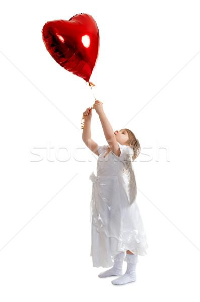 Nina corazón globo angelical rojo amor Foto stock © chesterf