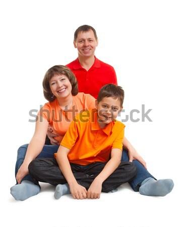 Boldog család portré stúdió fehér munka technológia Stock fotó © chesterf