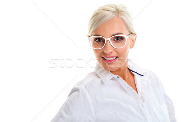 женщину белый очки голову Плечи красивой Сток-фото © chesterf