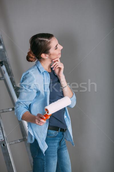 Stockfoto: Mooie · jonge · vrouw · naar · muur · gelukkig