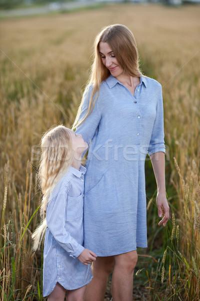 Сток-фото: красивой · молодые · матери · дочь · закат