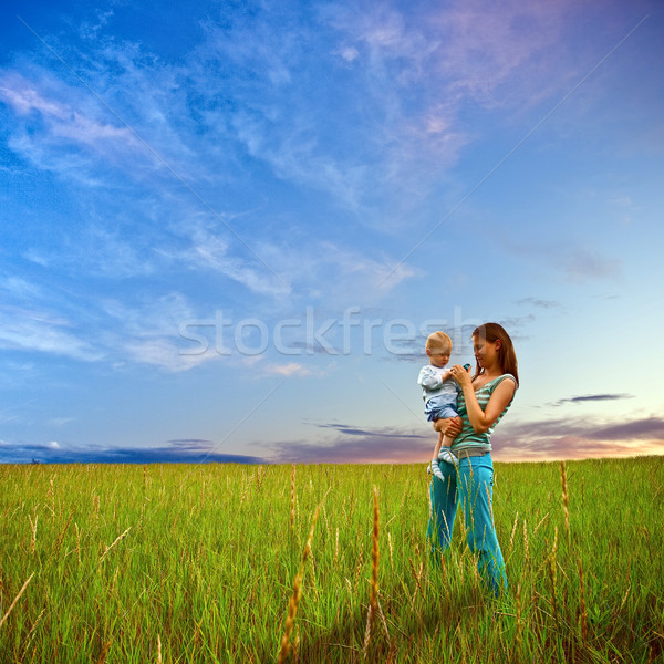 mother and son on the filed Stock photo © chesterf