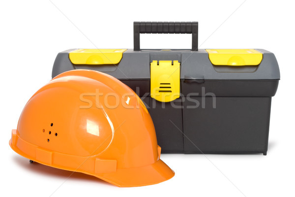 helmet and toolbox isolated Stock photo © chesterf