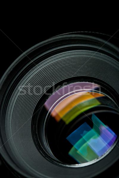 Közelkép kameralencse fekete üveg kék digitális Stock fotó © chesterf