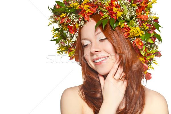 Foto stock: Vermelho · mulher · cara · retrato · olhando · para · baixo
