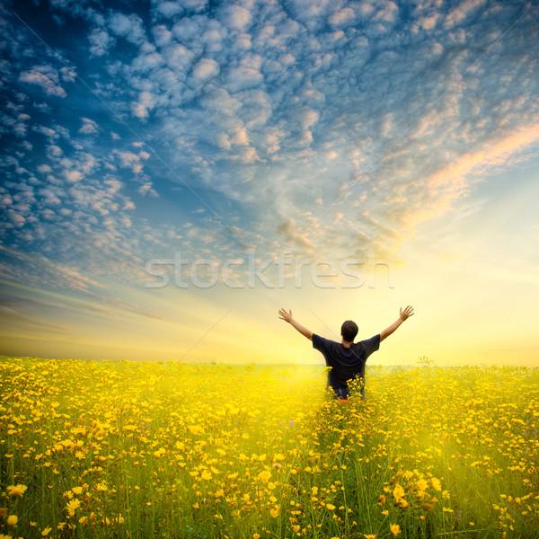 Uomo giallo campo fiore giallo bella cielo Foto d'archivio © chesterf