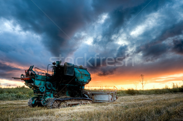 green combine under sunset Stock photo © chesterf