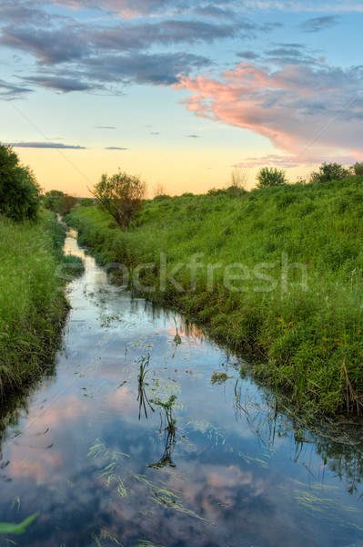 sunset above the stream Stock photo © chesterf