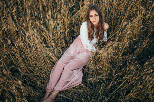 若い女性 着用 ドレス 座って フィールド 小麦 ストックフォト © chesterf