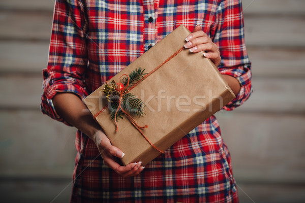 Hand crafted gift box in woman hands Stock photo © chesterf