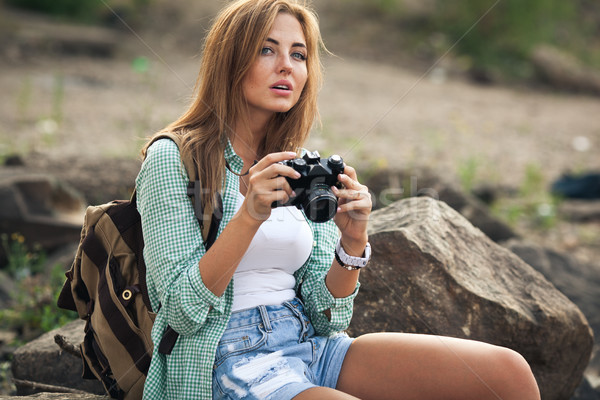 Stock fotó: Lány · fényképek · klasszikus · fotó · kamera · szabadtér