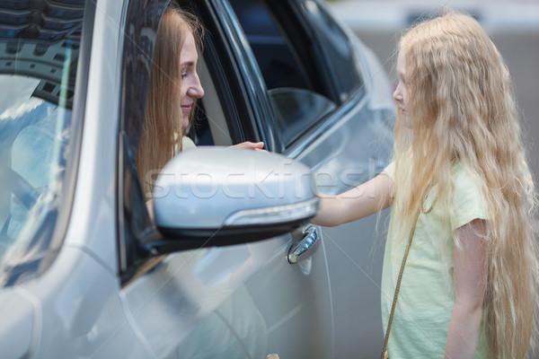 матери автомобилей дочь блондинка до свидания Сток-фото © chesterf