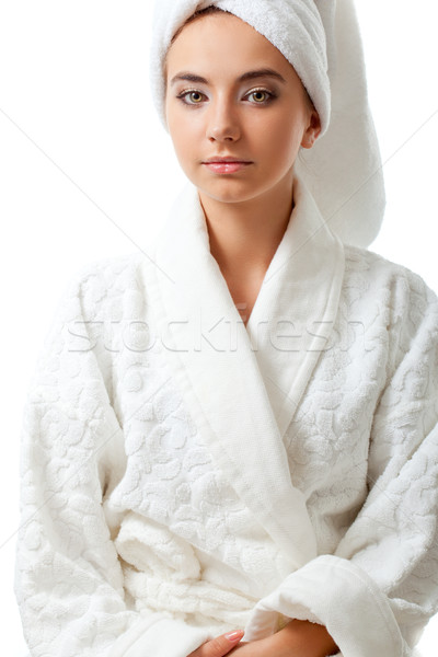 woman wearing bathrobe Stock photo © chesterf