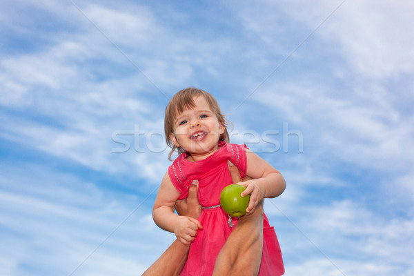 happy little baby girl over blue skies Stock photo © chesterf