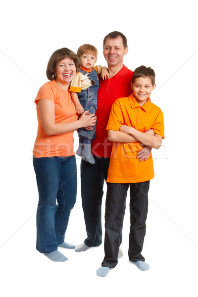 Boldog család portré stúdió teljes alakos fehér munka Stock fotó © chesterf