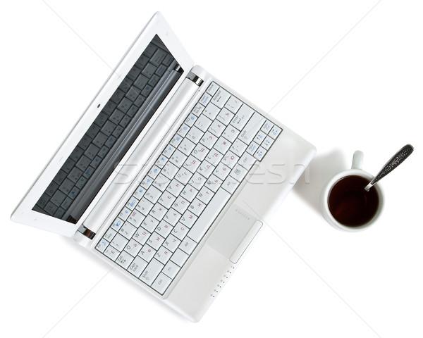 Beyaz netbook'lar kahve üst görmek siyah kahve Stok fotoğraf © chesterf
