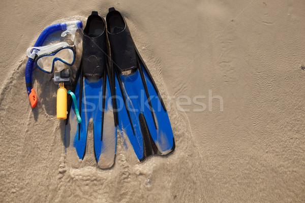 Сток-фото: маске · песок · синий · камеры · пляж · природы