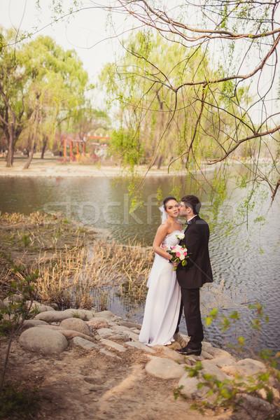 Сток-фото: пару · Постоянный · озеро · камней · свадьба
