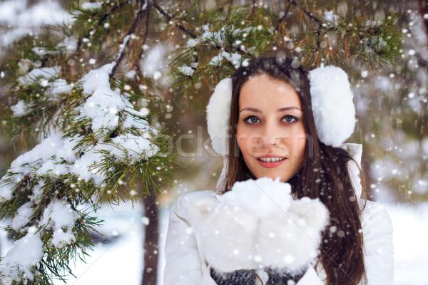 Stockfoto: Vrouw · lopen · winter · park · brunette