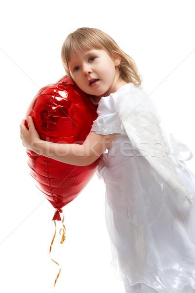 Nina corazón globo angelical rojo Foto stock © chesterf