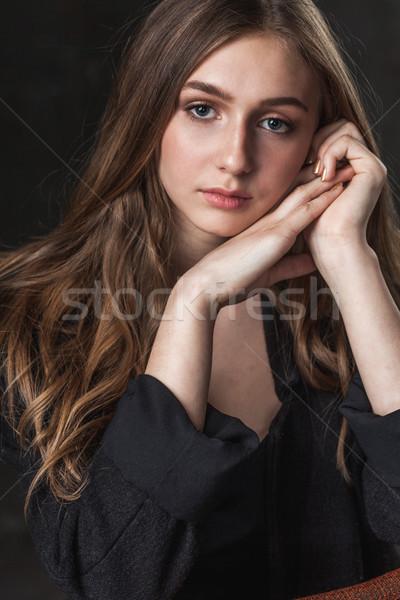 Foto stock: Retrato · menina · triste · olhos · escuro · mulher