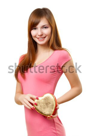woman holding heart shape box Stock photo © chesterf