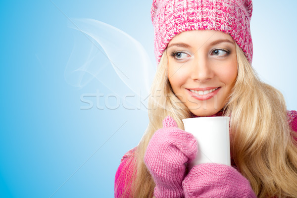 woman holding cup of drink Stock photo © chesterf