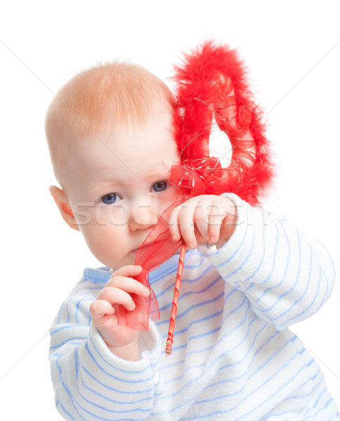 Bebé nino peludo corazón rojo aislado Foto stock © chesterf