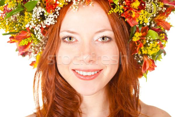 Czerwony kobieta uśmiechnięta twarz portret płytki Zdjęcia stock © chesterf