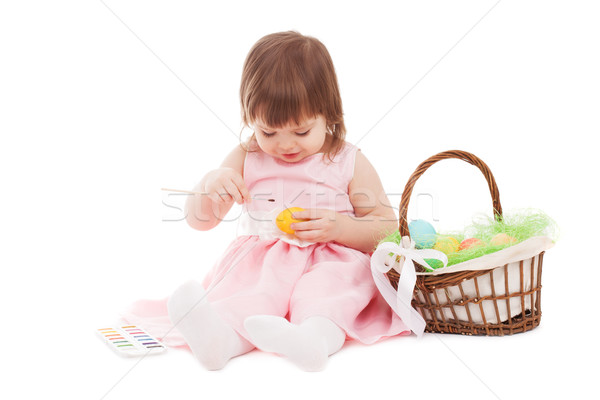 little girl painting easter eggs Stock photo © chesterf