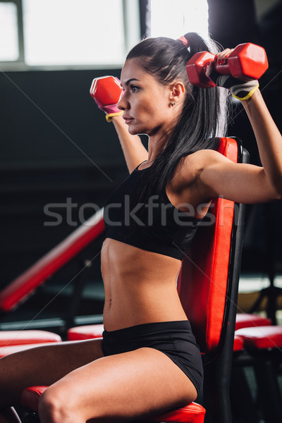 young sporty woman doing exercises with dumbbells in the gym Stock photo © chesterf