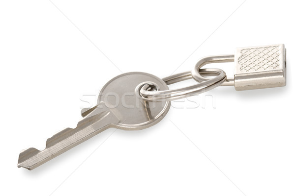 Isolato metal argento chiave lock bianco Foto d'archivio © chesterf