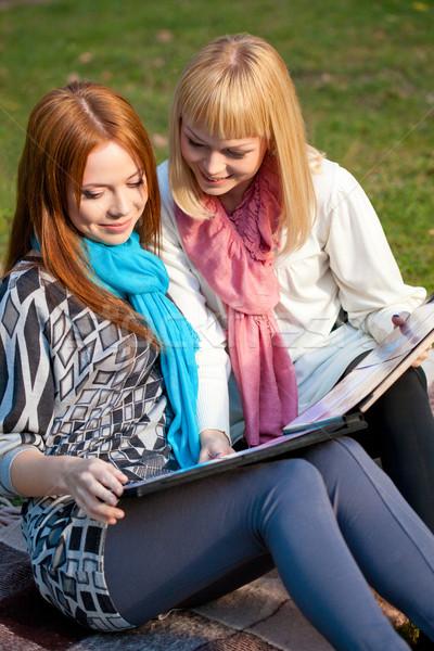 Kettő nővérek néz fényképalbum park ül Stock fotó © chesterf