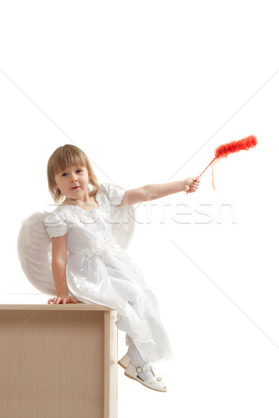angel girl sitting on pedestal Stock photo © chesterf