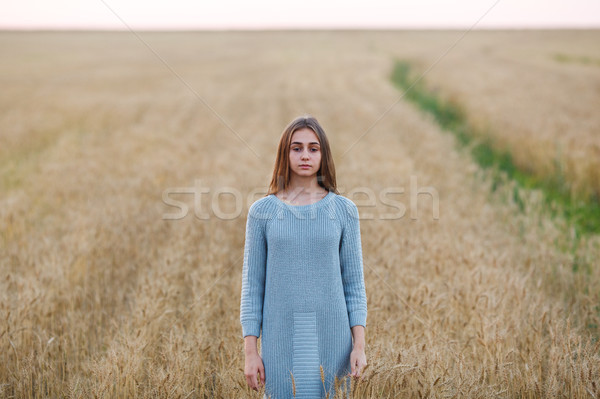 Beautiful brunette lady in wheat field at sunset Stock photo © chesterf