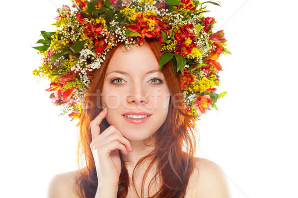 red haired woman with flower wreath on head Stock photo © chesterf