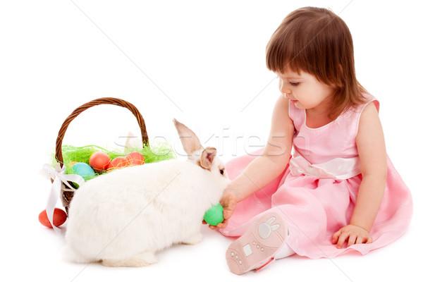 Сток-фото: девочку · играет · мех · кролик · белый · Пасху