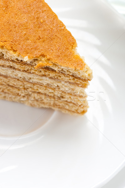 cake on white plate Stock photo © chesterf