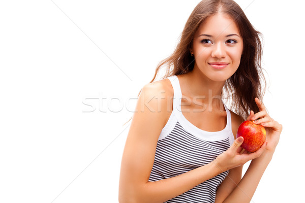 closeup woman portrait with apple Stock photo © chesterf