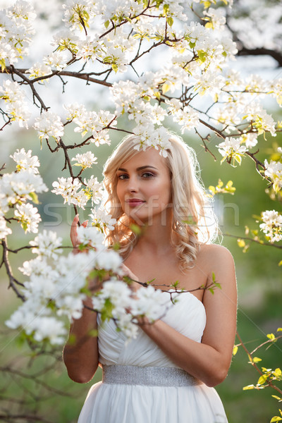 Foto stock: Mulher · loira · jardim · belo · retrato · primavera · flor